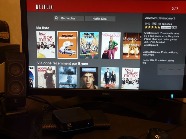 Le WD TV Play et l'interface de Netflix