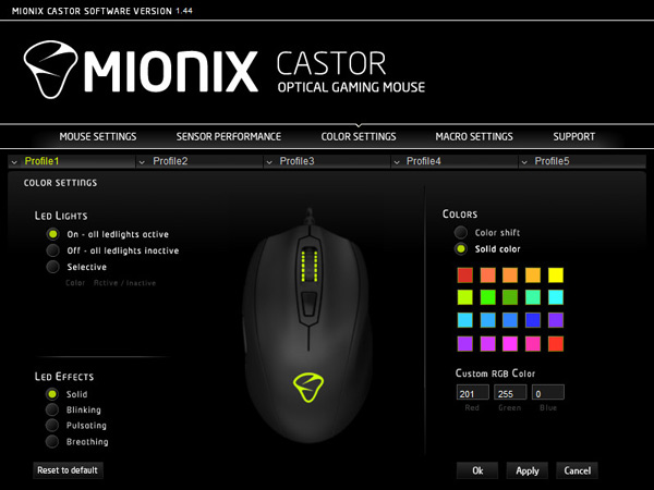 Mionix Castor Software : color setting / les paramètres de couleur
